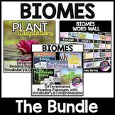 Biomes Unit - Biomes Nonfiction Reading Passages, Plant Adaptations & Word Wall