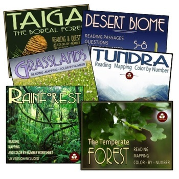 Biomes Bundle: Reading Passages, Color By Number, and Mapping