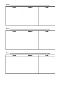 Biomes Capture Presentation Capture Sheet