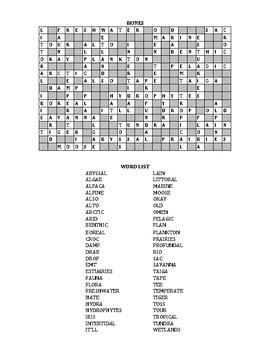 Biomes Crossword Puzzle