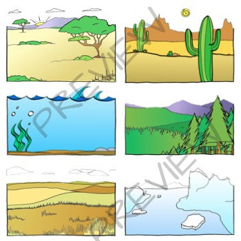 Biomes - Ecosystems Clip art - 16 Habitats - 31 Clipart Graphics
