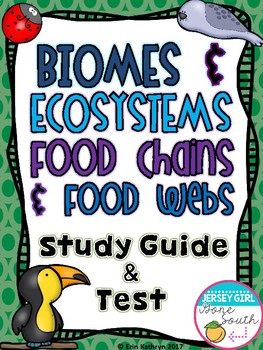 Biomes, Ecosystems, Food Chains, and Food Webs Study Guide and Test