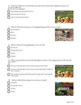 Biomes & Food Security - Socrative Quiz