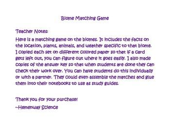 Biomes Matching Game