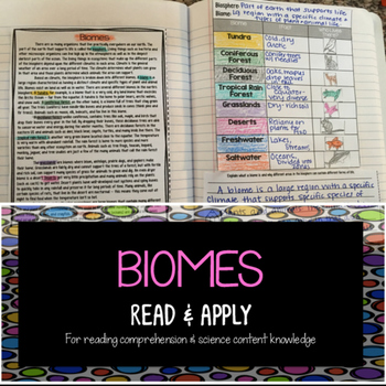 Biomes Reading Comprehension Interactive Notebook