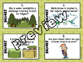 Biomes Task Cards - with or without QR codes