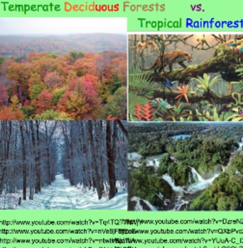 Biomes: Temperate Forest & Tropical Rainforest - Lesson Presentation, Videos