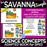 Biomes- The Savanna FREE DIGITAL SAMPLE Interactive Adapted Book for Science