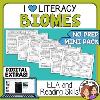 Biomes Themed ELA and Reading Skills Review Mini-Pack - Mo
