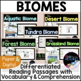 Biomes Unit - Differentiated Paper and Digital Nonfiction Reading Passages