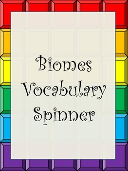 Biomes Vocabulary Spinner with Exit Ticket and Key