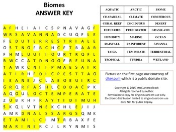 Biomes Word Search with Answer Key