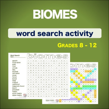 Biomes * WordSearch * Vocabulary*