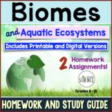 Biomes and Aquatic Ecosystems Homework Assignments