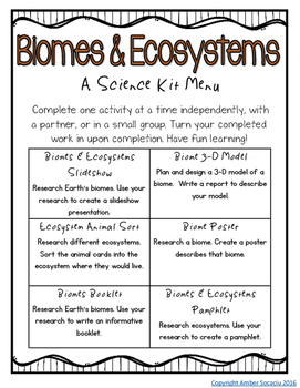 Biomes and Ecosystems Activities