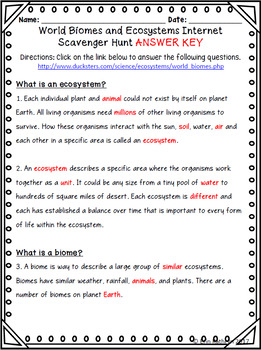 Biomes and Ecosystems Internet Scavenger Hunt WebQuest Activity | TpT