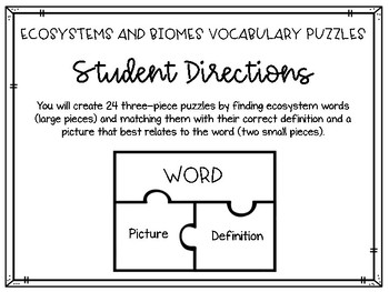 Biomes and Ecosystems Vocabulary Puzzles