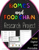 End of the Year Activity - Biomes and Food Chain Life Science Research Project