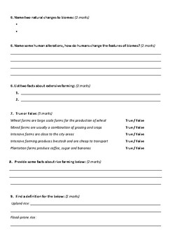 Biomes and Food Security Worksheet 3