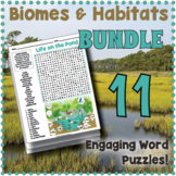 Biomes and Habitats Word Search BUNDLE - 10 Worksheets