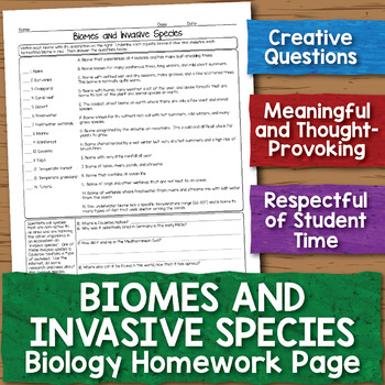 Biomes And Invasive Species Biology Homework Worksheet By Science