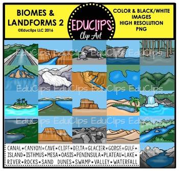 Biomes and Landforms 2 Clip Art Bundle {Educlips Clipart}