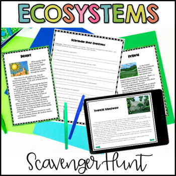 Ecosystems Scavenger Hunt Reading Activity