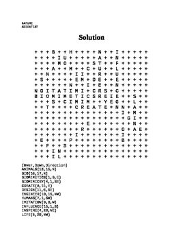 Biomimicry Word Search with Answer Key