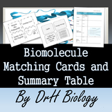 Biomolecule Matching Cards (2 versions) and Summary Chart