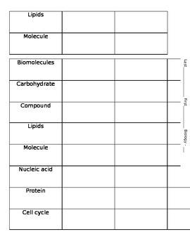 Biomolecule Vocabulary Terms/Quiz