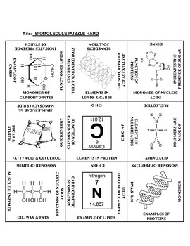 Biomolecules: 9 Square Puzzle Card Sort HARD
