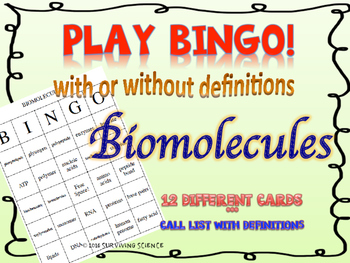 Biomolecules BINGO! with and without definitions