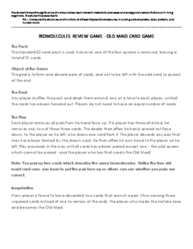 Biomolecules Review Game - Old Maid Card Game (9A)