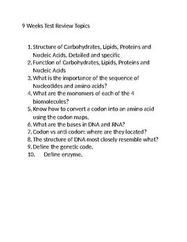 Biomolecules and DNA/RNA Review Topics