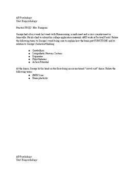Biopsychology AP Psychology Biological Psychology FRQ - Exam or Practice