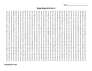 Biopsychology Vocabulary Word Search for Psychology