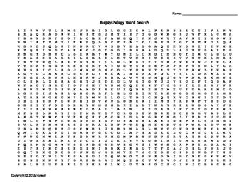 Biopsychology Vocabulary Word Search for Psychology