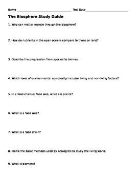 Biosphere Study Guide