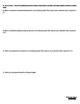 Biotechnology 4 Version Quiz