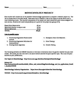 Biotechnology Applications Project