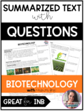 Biotechnology Summary Text with Questions