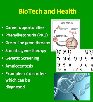 Biotechnology and Health  - A Senior Biology PowerPoint Lesson & Notes
