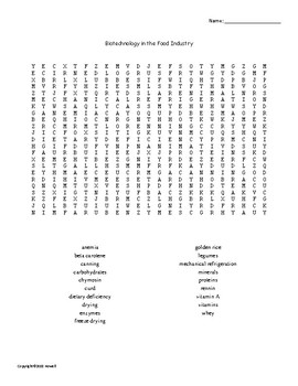 Biotechnology in the Food Industry Word Search for Biotechnology Students
