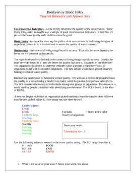 Biotic Index Lab - Stream Water Quality Lab
