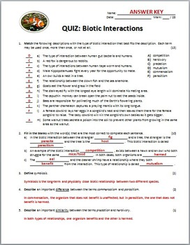 Biotic Interactions - Quiz {Editable}