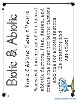 Biotic and Abiotic Factors Activities