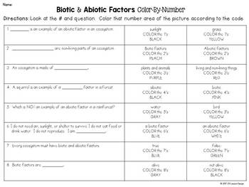 Biotic and Abiotic Factors Color-By-Number