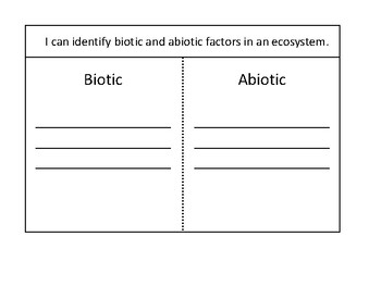 Biotic and Abiotic Factors Foldable
