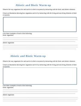 Biotic and Abiotic Warm ups