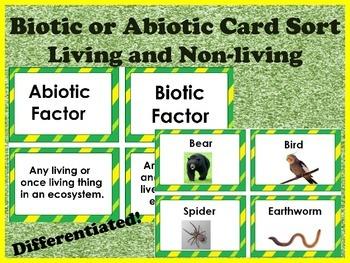 Biotic Abiotic living nonliving cardsort 32 cards-Differen